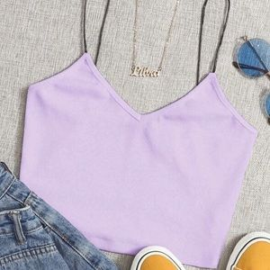 Lavender cropped cami top